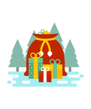 Santas Christmas gifts and presents bag in the forest vector illustration. New Year and Christmas celebration topic.
