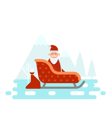 Santa Claus is sitting in his sledge and is going to deliver gifts and presents to good childrens house vector illustration. Illustration