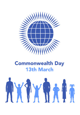 Vector illustration of the globe with people around it on white background with lettering. The illustration concerns the Commonwealth Day on March 13th.