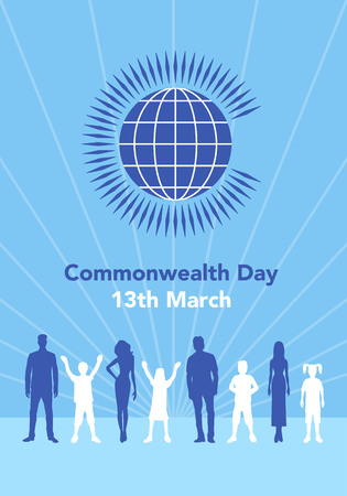 Vector el ejemplo del globo con la gente alrededor de él en el fondo blanco con las letras. La ilustración se refiere al Día de la Commonwealth el 13 de marzo. Foto de archivo - 87774549