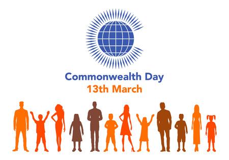 Vector el ejemplo del globo con la gente alrededor de él en el fondo blanco con las letras. La ilustración se refiere al Día de la Commonwealth el 13 de marzo. Foto de archivo - 87774556