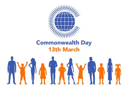 Vector el ejemplo del globo con la gente alrededor de él en el fondo blanco con las letras. La ilustración se refiere al Día de la Commonwealth el 13 de marzo. Foto de archivo - 87774557