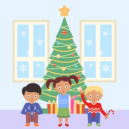 Vector illustration of boys and decorated Christmas tree. New Year and Christmas celebration topic. Illustration