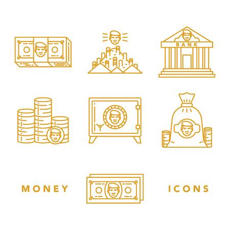 紙幣やコイン、金庫、レタリングで白い背景に銀行などお金と金融の属性のベクトルのアイコンを設定します。お金と金融機関のトピック。