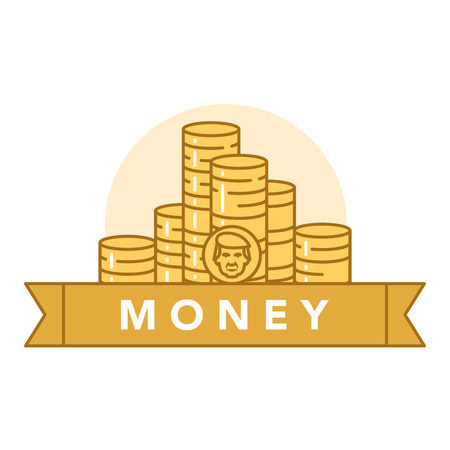Vector illustration of golden coins on white background with lettering. Money and financial institutions topic. Illustration