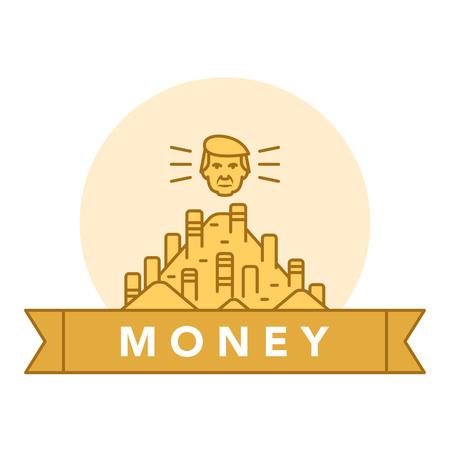 文字と白い背景の上の黄金のコインのベクター イラストです。お金と金融機関のトピック。