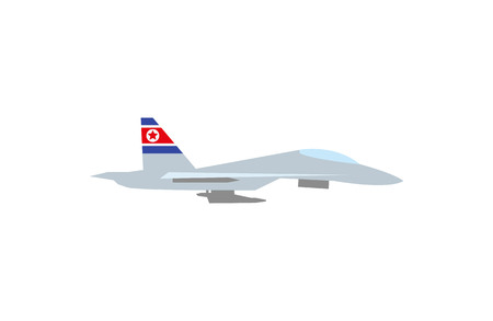 A Vector illustration of such military equipment as fighter plane with a flag of Northern Korea on white background. Countries military forces topic.