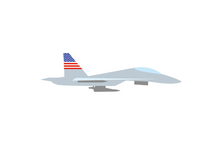 A Vector illustration of such military equipment as battle ship with a flag of USA on white background. Countries military forces topic.