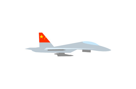 A Vector illustration of such military equipment as battle ship with a flag of China on white background. Countries military forces topic.