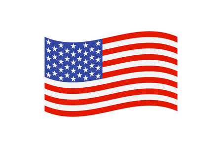 illustration of the national flag of the United States of America on white background.