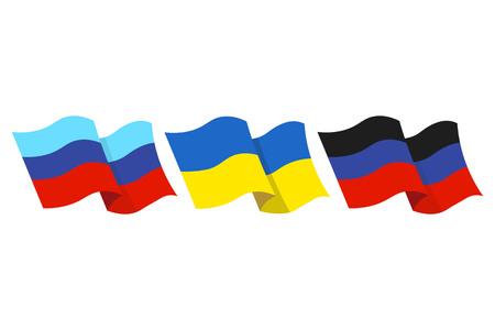 Vector la ilustración de las banderas de la república auto proclamada de la gente de Luhansk y de la república popular de Donetsk y también la bandera del estado de Ucrania en el fondo blanco. Vectores