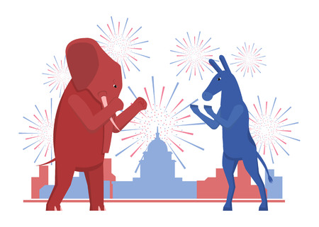 liberal: The USA elections result illustration. Democratic donkey and republican elephant contest result.