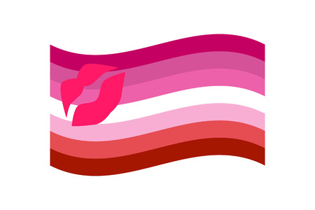 parade: Vector illustration of the Lipstick Lesbian flag on white background