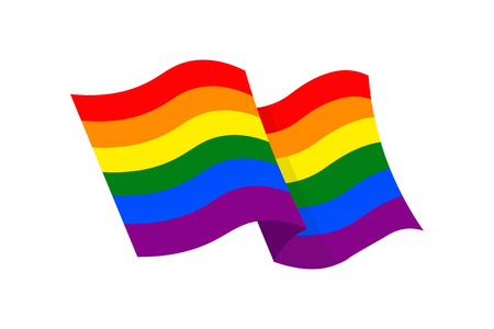 Vector illustration of the LGBT flag on white background. LGBT symbols topic.