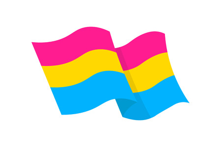 Vector illustration of the Pansexual pride flag on white background Ilustração