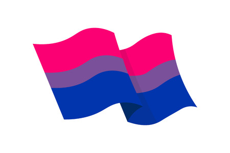 Vector illustration of the Bisexual flag on white background. LGBT symbols topic. Çizim