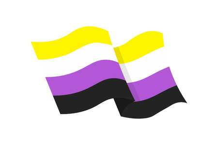 Vector illustration of the non-binary flag on white background Çizim