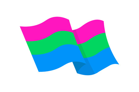 Vector illustration of the Polysexual flag on white background Çizim