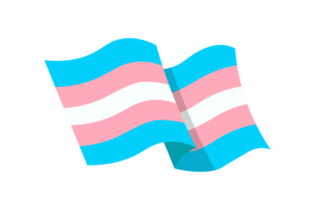 Vector illustration of the transgender flag on whte background Çizim