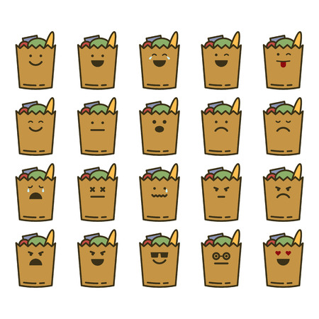 Vector icons set of emoji in the shape of groceries on white background.