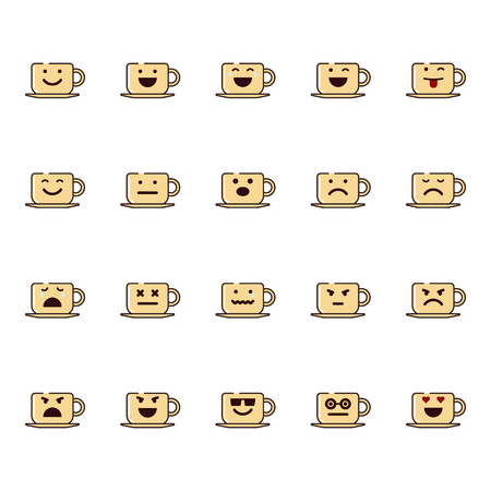 Vector icons set of emoji in the shape of cups on white background. Vettoriali