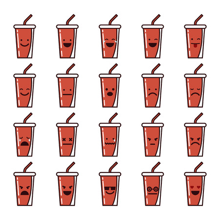 Vector icons set of emoji in the shape of soda glasses on white background.