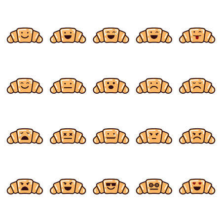 Vector icons set of emoji in the shape of croissants on white background.
