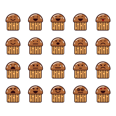 Vector icons set of emoji in the shape of muffins on white background.