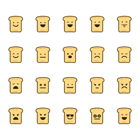 Vector icons set of emoji in the shape of toasts on white background.