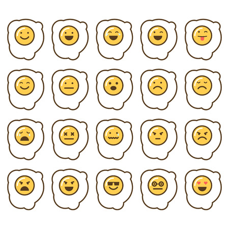 Vector icons set of emoji in the shape of scrambbled eggs on white background.