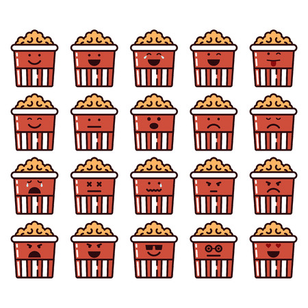 Vector icons set of emoji in the shape of pop corn on white background. Illustration
