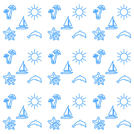 Holidays and travel vector icons set. Summer baackground texture.