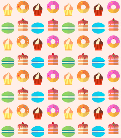 Sweets and pastries vector background. Summer background