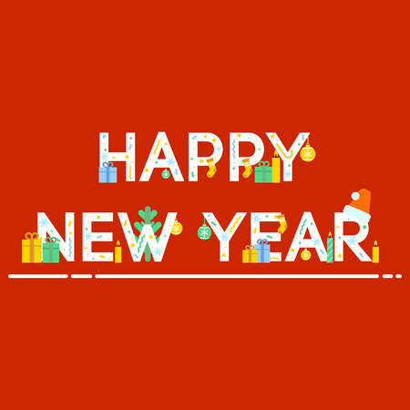 Ornate New Year greeting on red background icon. New Year and Christmas celebration topic.