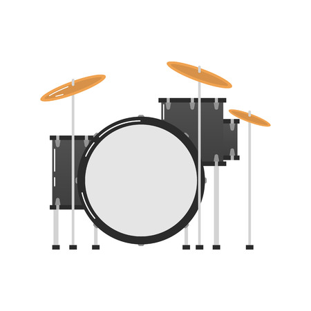 Icon of a drum kit on white background. Musical instruments topic.