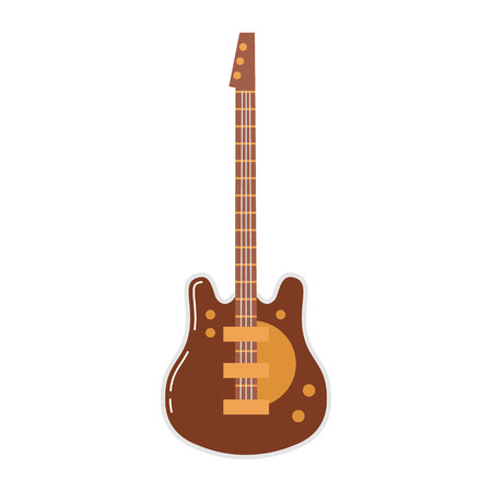 icon of an electric guitar on white background with notes. Musical instruments topic. Illustration