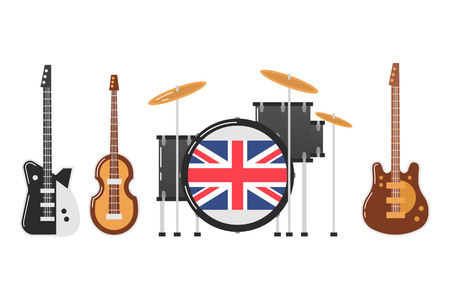 November 19.2017 . Editorial illustration of the Beatles band s musical instruments on white background. World Beatles Day on January 16 topic.
