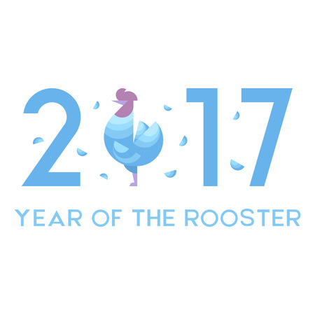Vector illustration of the rooster as a symbol of New Year 2017. New Year and Christmas celebration topic. Çizim