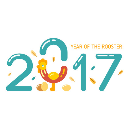 Vector illustration of the rooster as a symbol of New Year 2017. New Year and Christmas celebration topic.