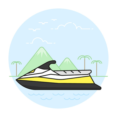 Illustration of the water scooter on exotic mountains and palm trees background. Summer activities and recreation topic.
