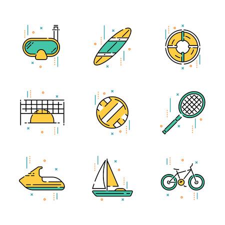 Summer activities and recreation attributes illustrations set. Çizim