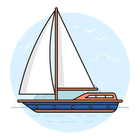 Illustration of the sailing yacht on sea or ocean background. Summer activities and recreation topic.