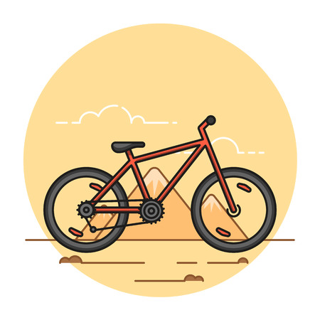 Illustration of the mountain bike on mountains background. Extreme sport topic.