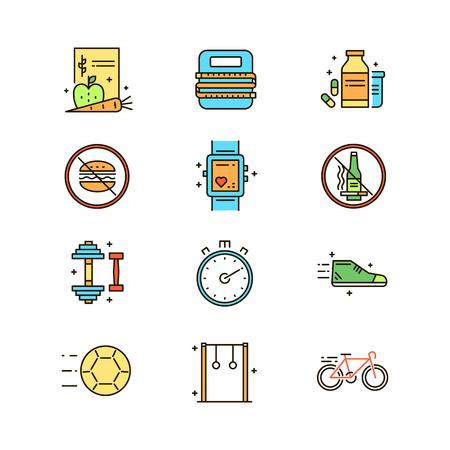 Healthy lifestyle atributes icons set illustration. Helath topic
