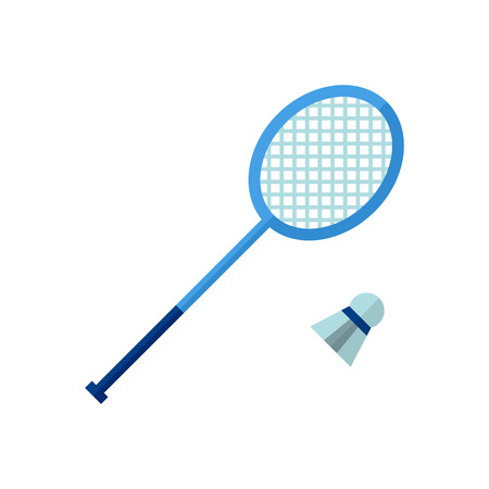 Badminton Icon on isolated background. Atributes for summer sports activities.