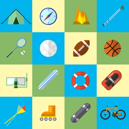 Set of Icons and Illustrations in Flat Design Style. Sports Equipment