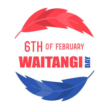Illustration of New Zealand Waitangi Day on the 6th of February.