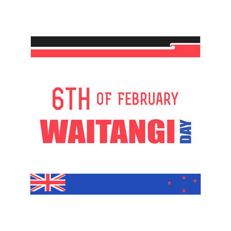 Maori and New Zealand flag, New Zealand Waitangi Day on the 6th of February vector illustration