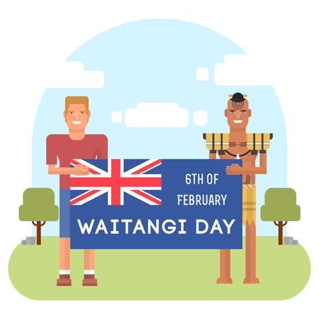 Illustration of New Zealand native inhabitant Maori with a European