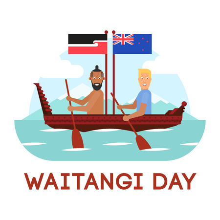 Maori and British man are in the boat with oars and flags vector illustration